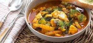 La receta de invierno, sopa de Pescado con Aceitunas